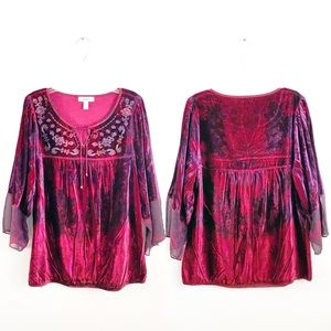 Dress Barn Blouse Womens Burgundy Purple Velour